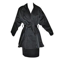 Charles Jourdan black two-piece wrap skirt-suit