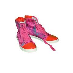 Lanvin Fuchsia & Coral high-top sneaker