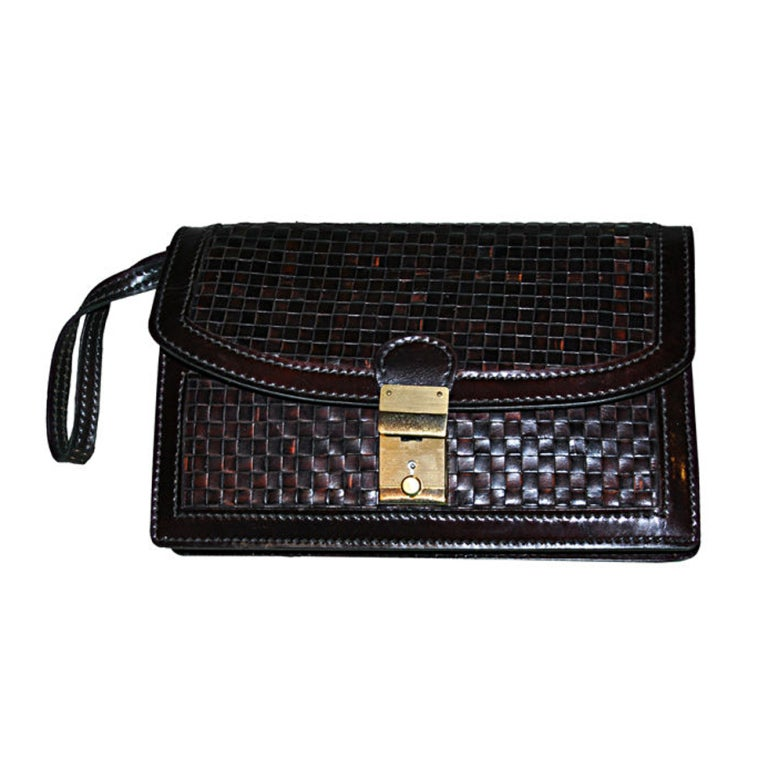Salambo (Italy) men's woven leather clutch