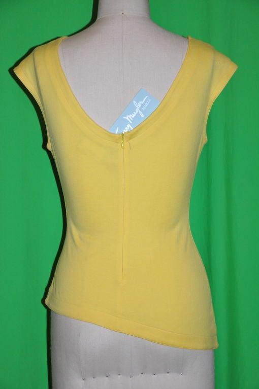 Thierry Mugler Asymmetric Yellow Cotton Tee 3