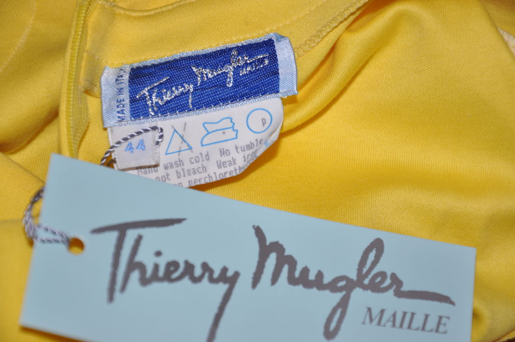 Thierry Mugler Asymmetric Yellow Cotton Tee For Sale 1