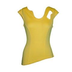 Thierry Mugler Asymmetric Yellow Cotton Tee