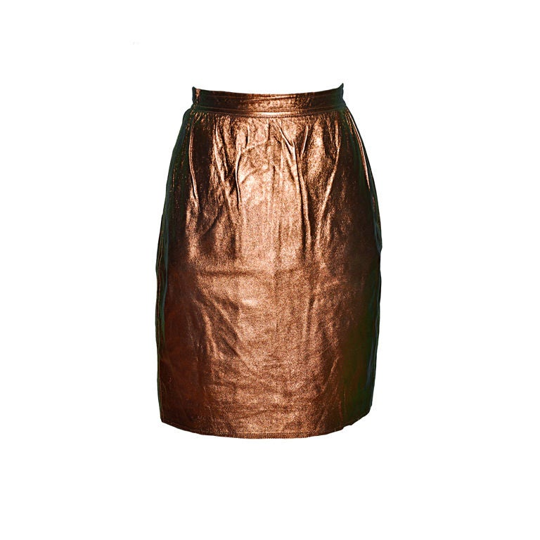 Emanuel Ungro Metallic bronze leather skirt