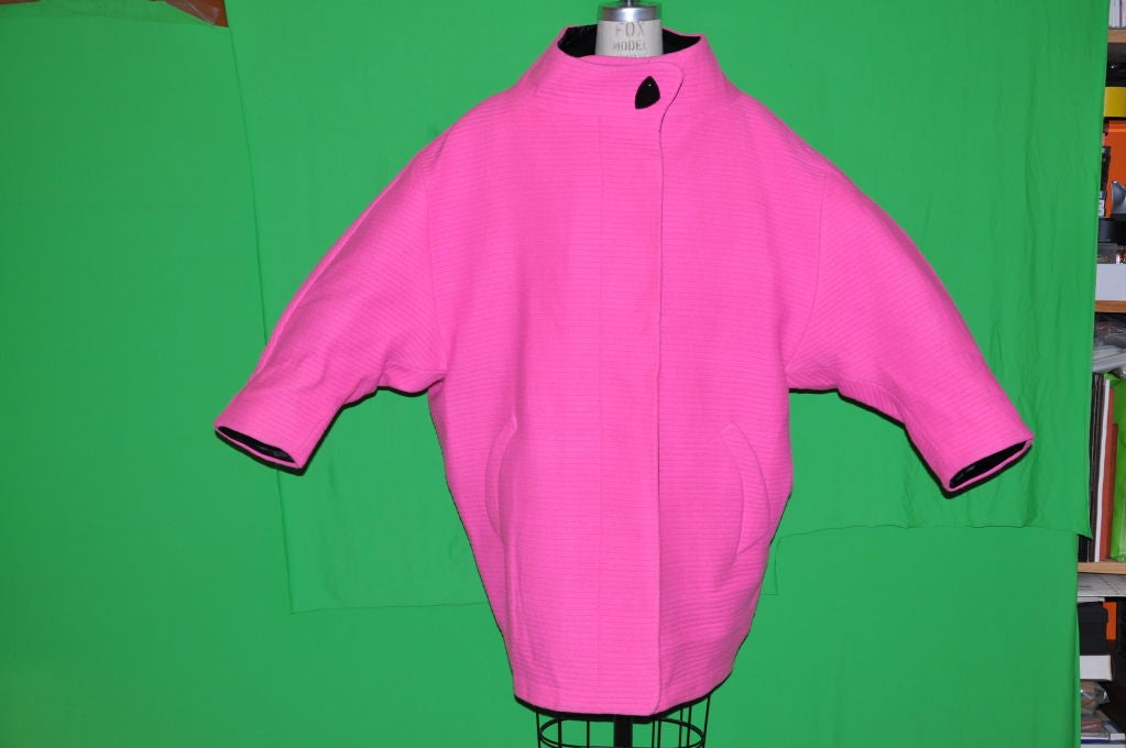 Rare Iconic Thierry Mugler quilted Fuchsia wool with velvet coat 2