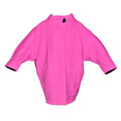 Rare Iconic Thierry Mugler quilted Fuchsia wool with velvet coat