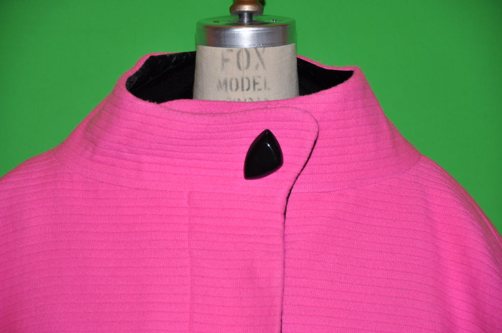 Rare Iconic Thierry Mugler quilted Fuchsia wool with velvet coat 4