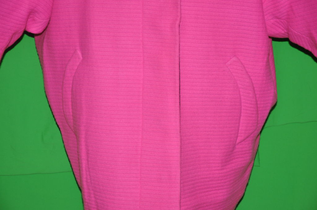 Rare Iconic Thierry Mugler quilted Fuchsia wool with velvet coat 5