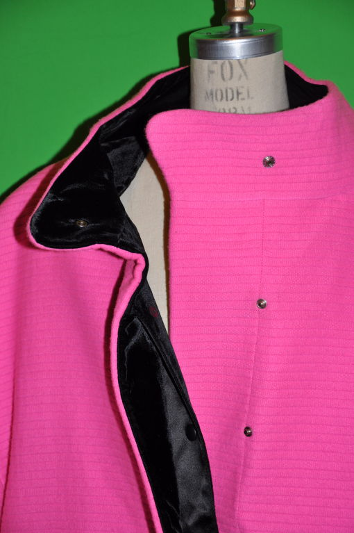 Rare Iconic Thierry Mugler quilted Fuchsia wool with velvet coat 6