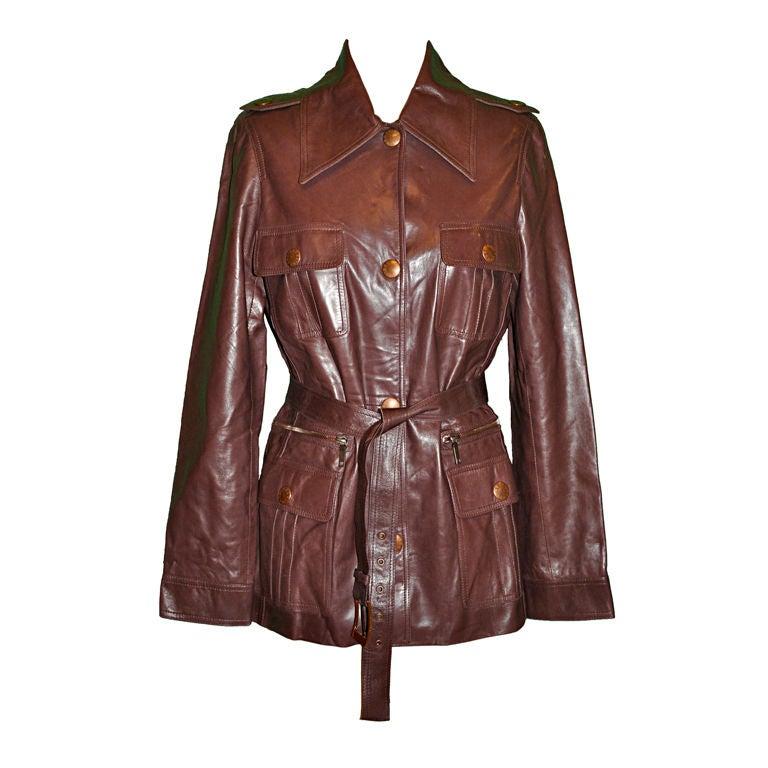 Celine Taupe lambskin leather sarfari style jacket