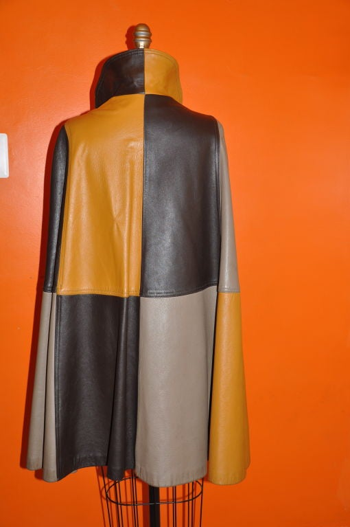 Brown Leather 'Block' Patch Cape. For Sale