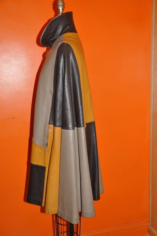 Women's or Men's Leather 'Block' Patch Cape. For Sale