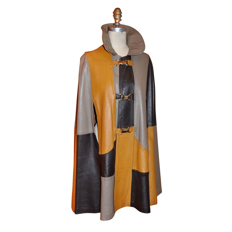 Leather 'Block' Patch Cape. For Sale