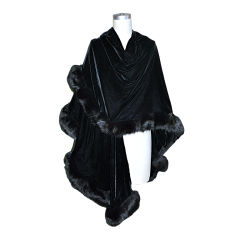 Adrienne Landau black velvet with fox trim shawl