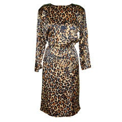 Yves Saint Laurent rive gauche silk leopard print dress