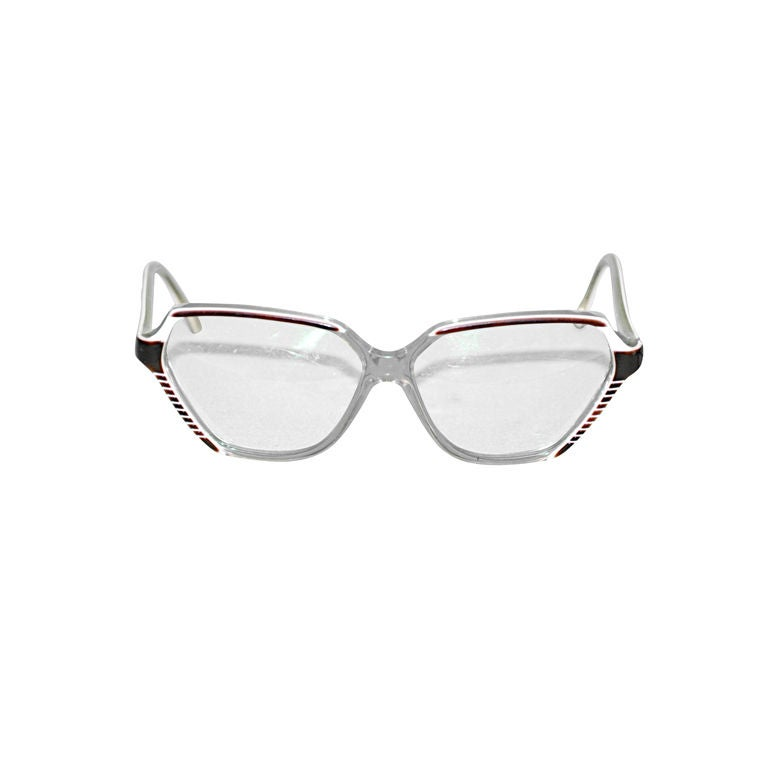 Balenciaga clear lucite with Tortoise detail glasses For Sale
