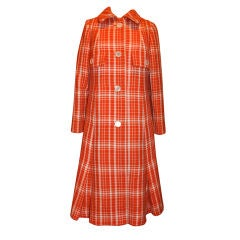 "Jean Patou ""Collection"" plaid coat"