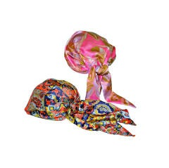 Set of muticolored silk turbans