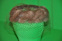 Fawn colored mink and velvet bumper hat