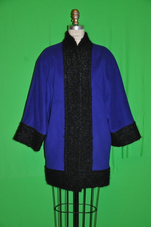 Pierre Balmain Cobalt Blue with Persian Lamb coat 2