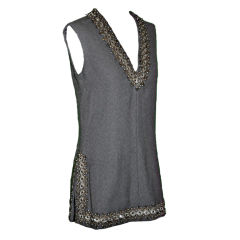 Arthur Doucette for J.G. Couture gray Swarovski detailed tunic