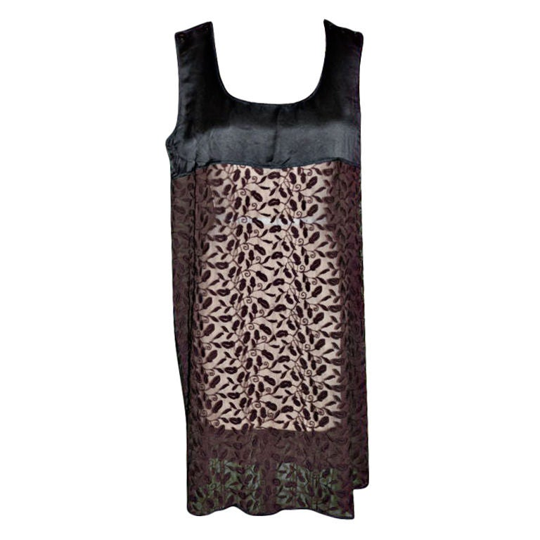 Jean Paul Gaultier black & brown embroidered dress For Sale