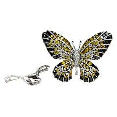 Multi-colored 18k diamond butterfly ring/brooch