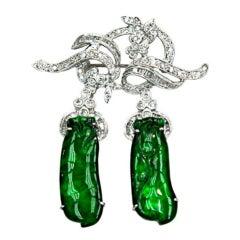 """Rare """"Imperial"""" jade brooch/earrings"""