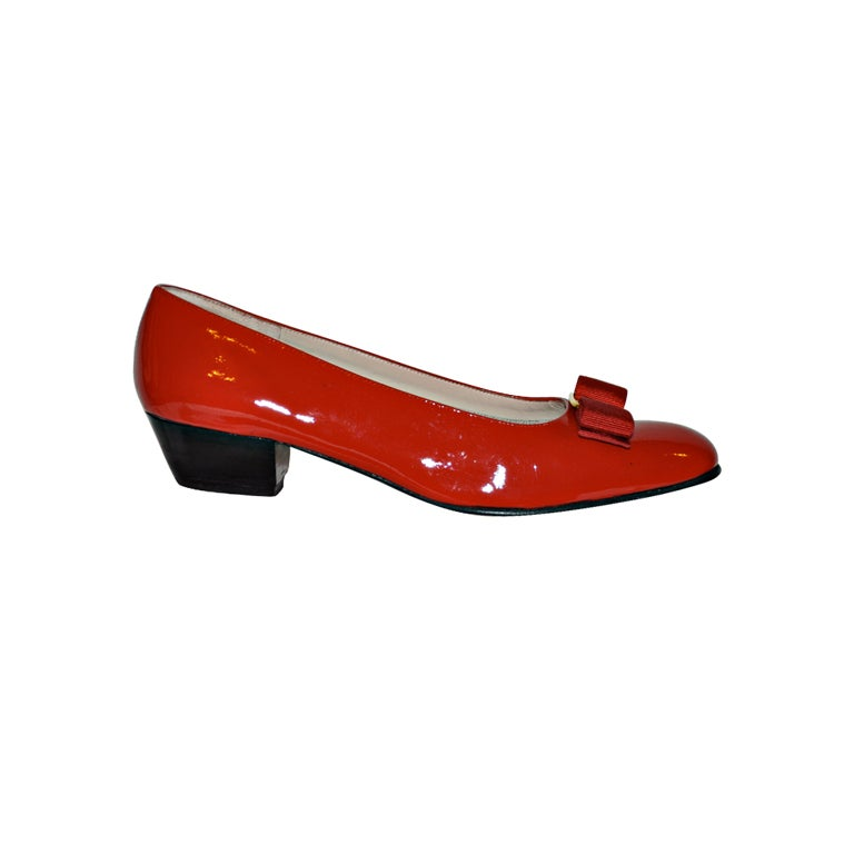"""Ferragamo """"Boutique"""" Red patent pumps"""