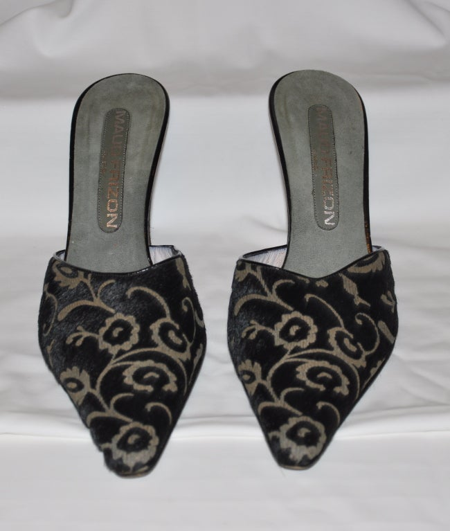 Black Maud Frizon stenciled pony slip-on heels For Sale