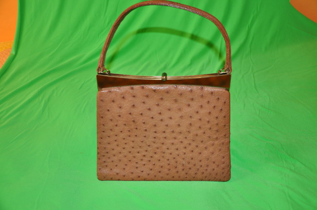 1stdibs Beverly Ostrich Tan-colored Handbag