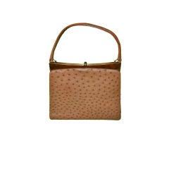 Beverly Ostrich tan-colored handbag