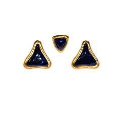 Guy Laroche deep navy & gold earrings & tack-pin set
