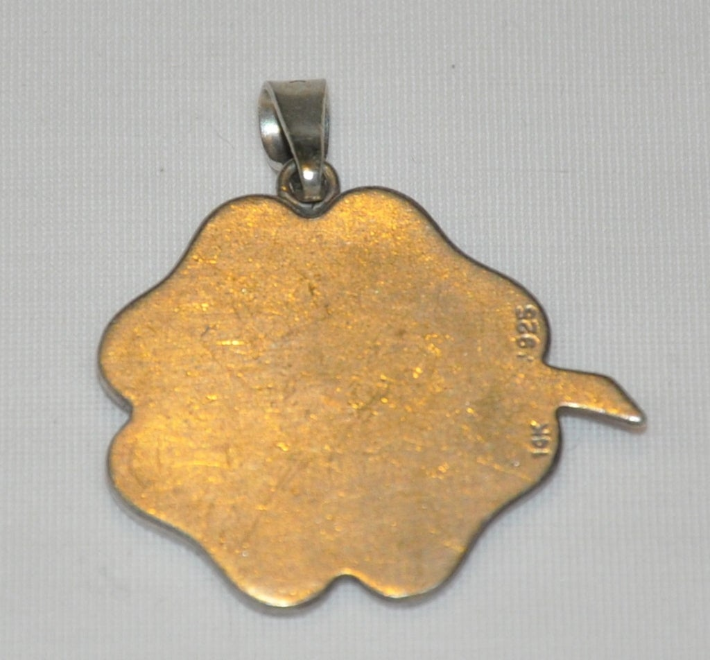 "Rare 14k yellow & Sterling ""Lucky Clover"" pendant 3"