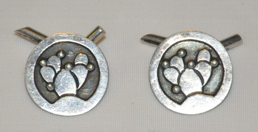 Sterling silver cuff links with a