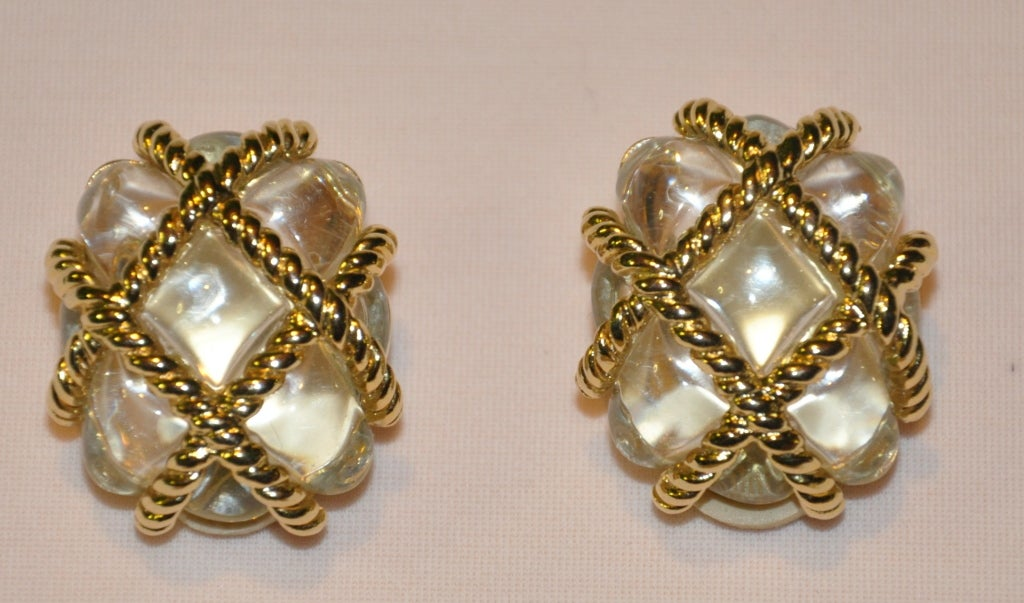Kenneth Jay Lane Lucite and gold clip-on earrings 2