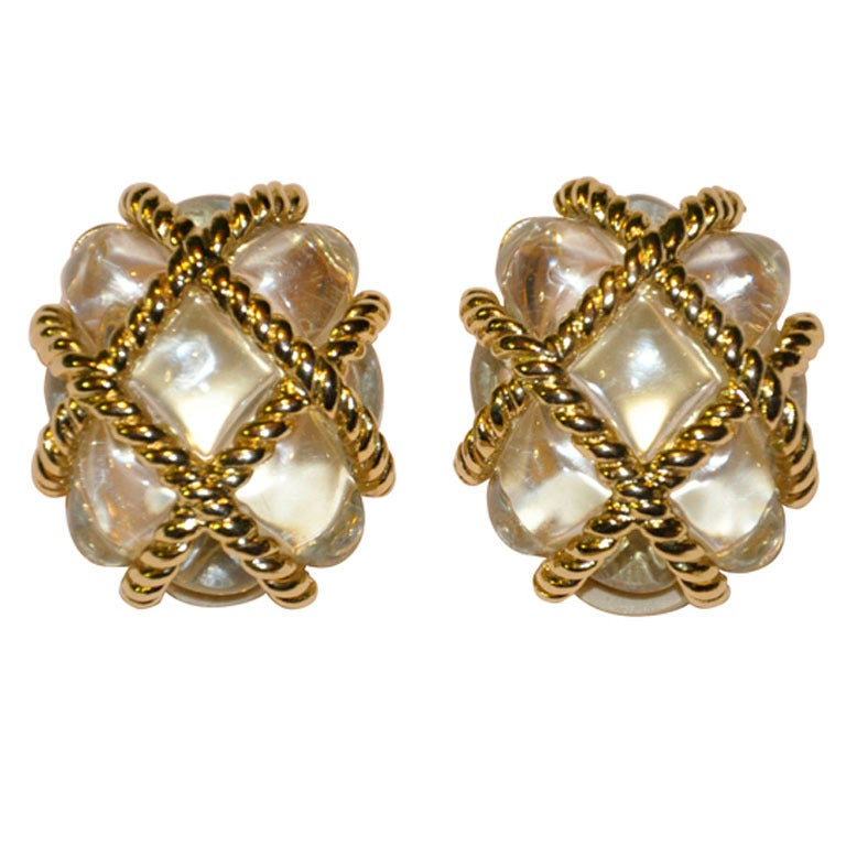 Kenneth Jay Lane Lucite and gold clip-on earrings 1