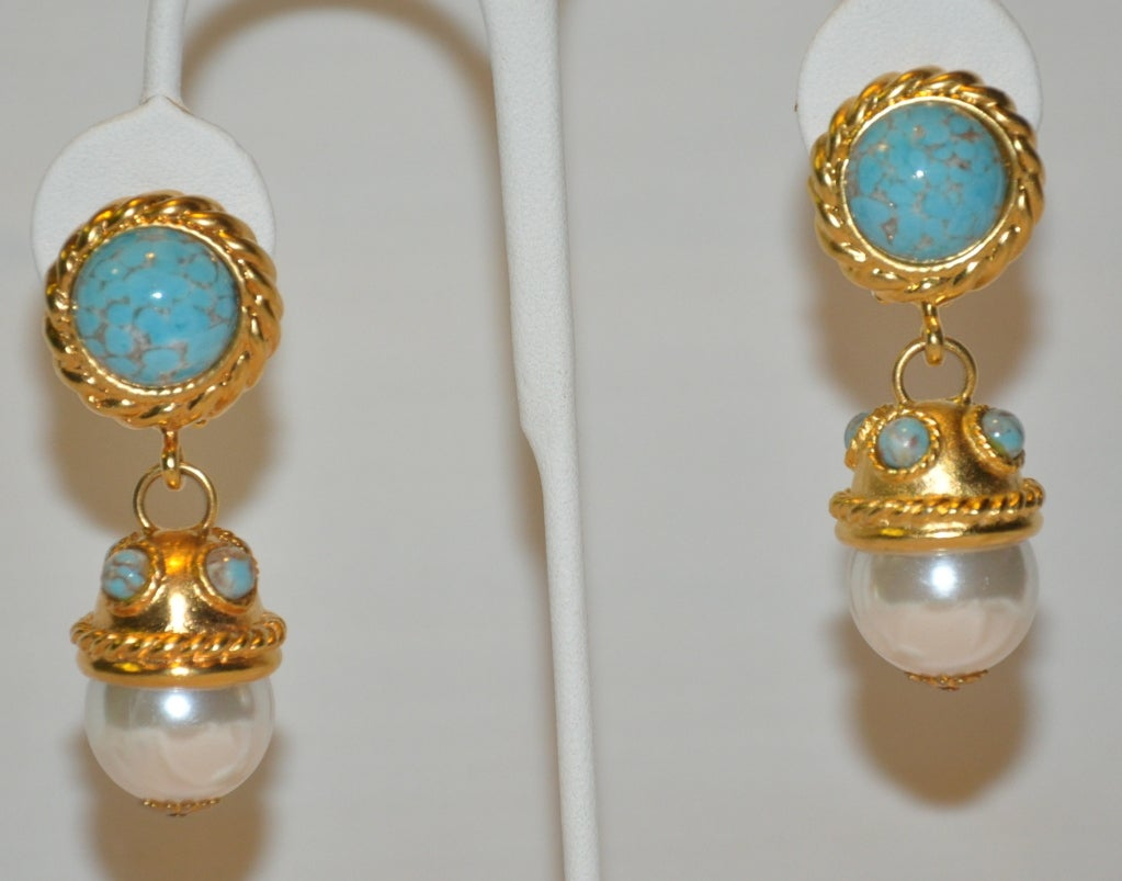 Clipon Earrings In Gold With Turquoise And Pearl Accents 2