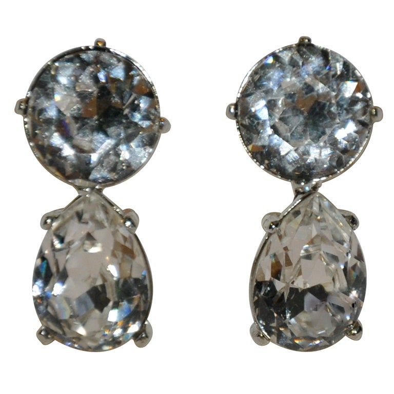 Kenneth Lane Huge Diamond Drop Earrings For