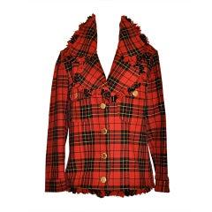 Moschino Plaid with fringe jacket