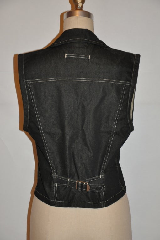 "Black Jean Paul Gaultier denim ""Safety Pin"" vest For Sale"