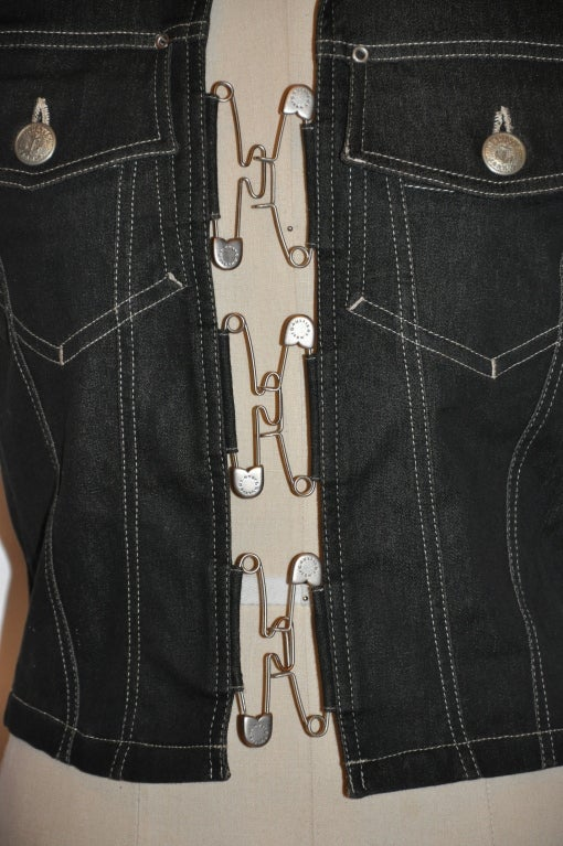 "Jean Paul Gaultier denim ""Safety Pin"" vest In Excellent Condition For Sale In New York, NY"
