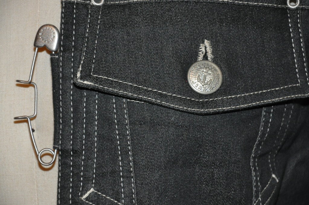 "Jean Paul Gaultier denim ""Safety Pin"" vest For Sale 1"