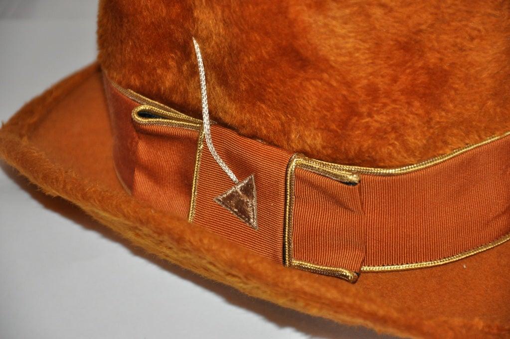 Women's Mr. John Golden brown felted hat For Sale
