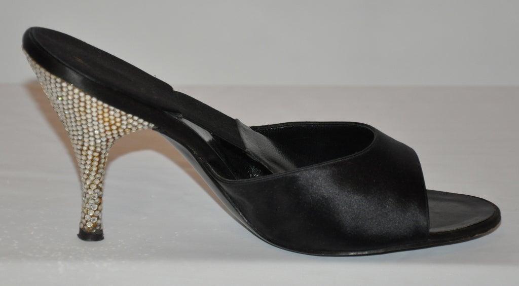 Delman 1960s rhinestone heel satin sandals 5