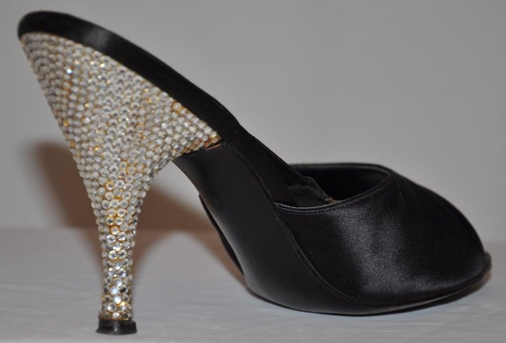 Delman 1960s rhinestone heel satin sandals 6