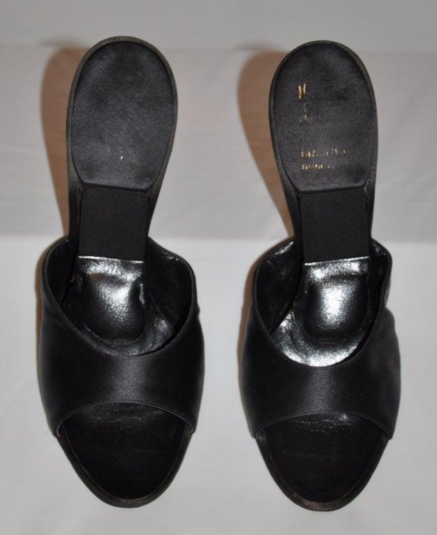 Delman 1960s rhinestone heel satin sandals 7