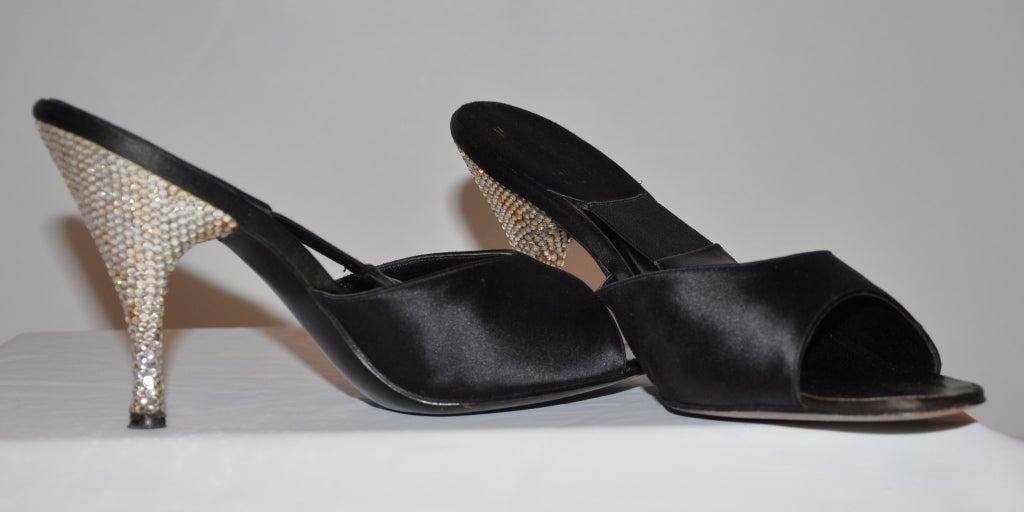 Delman 1960s rhinestone heel satin sandals 8