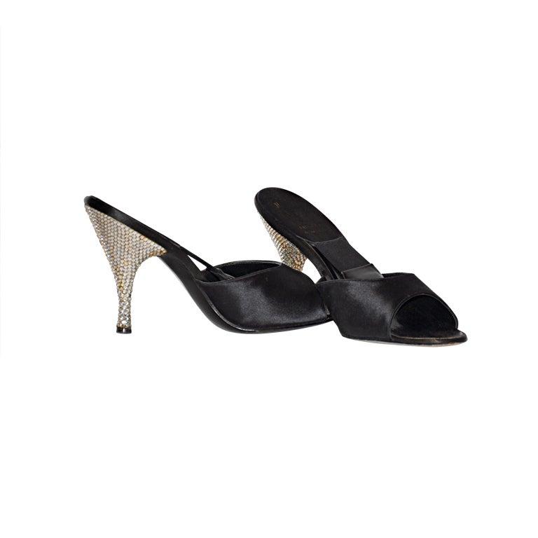 Delman 1960s rhinestone heel satin sandals 1