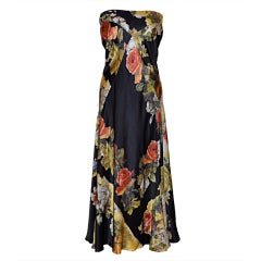 Roberto Cavilli silk floral strapless dress