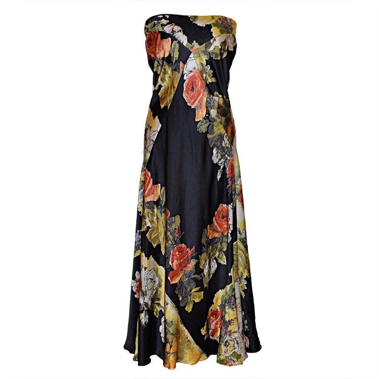 Roberto Cavilli silk floral strapless dress